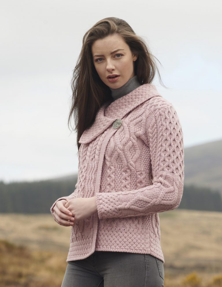 Irish Aran Wool Sweaters for Women made in Ireland:  Patchwork One Button Cardigan made from Merino Wool in Ireland. Buy online at Red Scarf Equestrian Canada