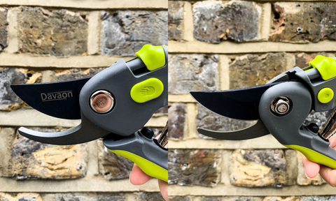front and back view of a bypass pruner