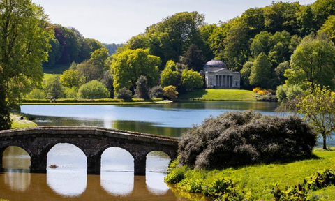 A view of Stourhead from above