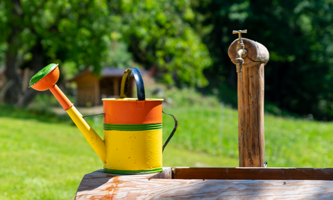 a colourful watering can sitting on top of a well