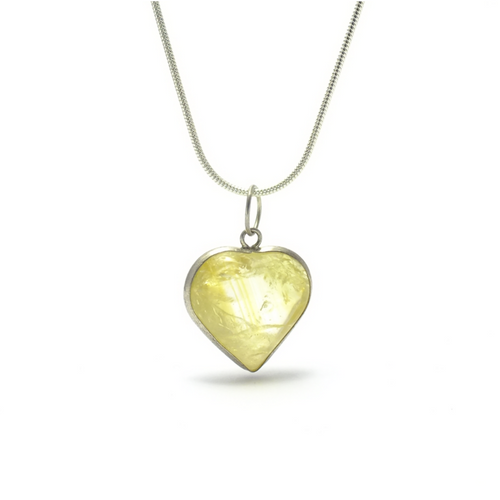 Heart ~ Small Citrine Heart in Silver - maka chaska