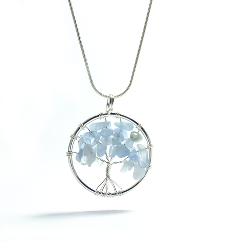 Tree of Life Pendant ~ Small Blue Lace Agate - maka chaska