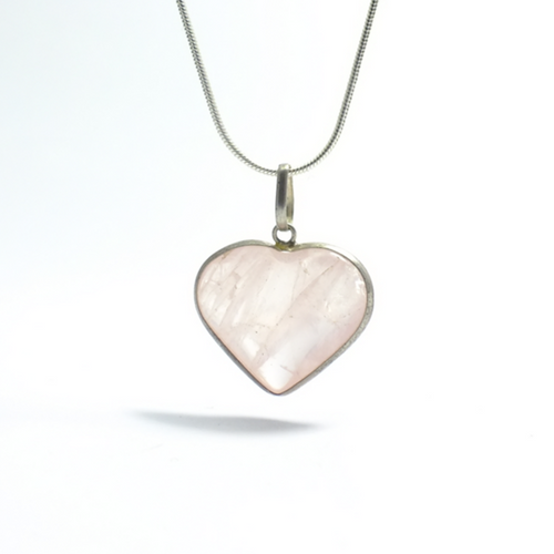 Hearts ~ Rose Quartz Heart Pendant - maka chaska