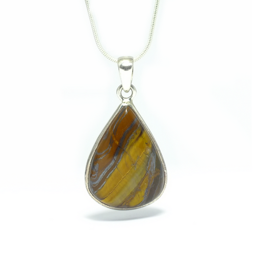 Tear Drop Tiger's Eye Pendant in Silver - maka chaska