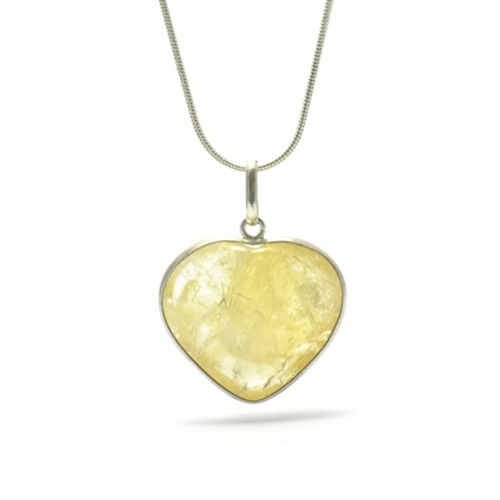 Heart ~ Large Citrine Heart in Silver - maka chaska