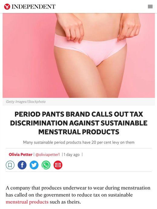 Period Pants Brand Calls Out Tax Discrimination Against Sustainable Menstrual Products