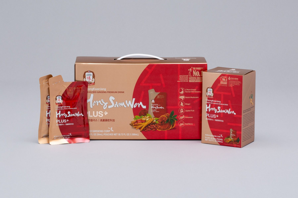 hong sam won plus box and pouches on white table