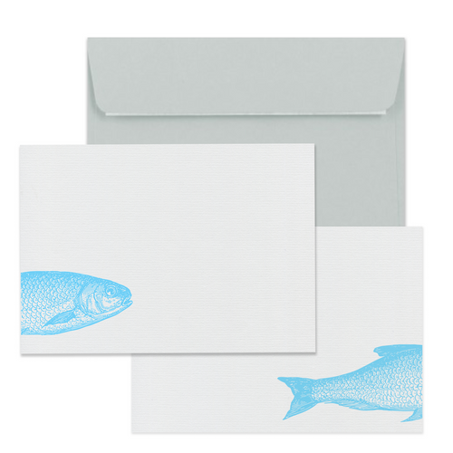Finest Catch Notecard Set - Note Card Set  Mustard and Gray Ltd Shropshire