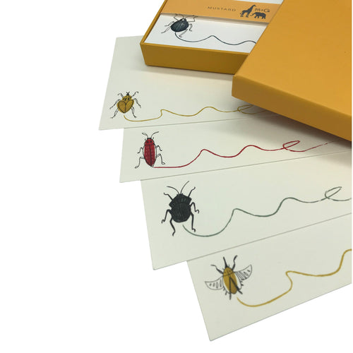 Buggy Scribble Notecard Set - Note Card Set  Mustard and Gray Ltd Shropshire