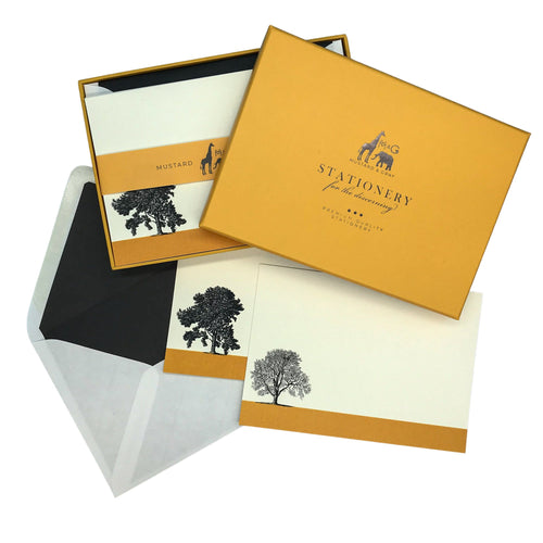 Condover Headlands Notecard Set with Lined Envelopes - Note Card Set  Mustard and Gray Ltd Shropshire