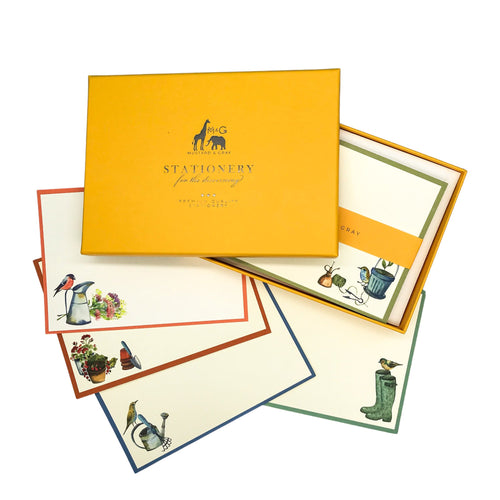 Gardeners Friends Notecard Set - Note Card Set  Mustard and Gray Ltd Shropshire