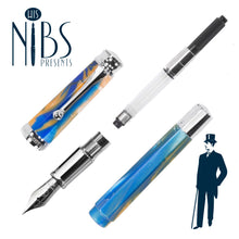 Load image into Gallery viewer, His Nibs Presents the Monteverde Essenza Fountain Pen in Sunny Skies Blue and Orange in parts including converter