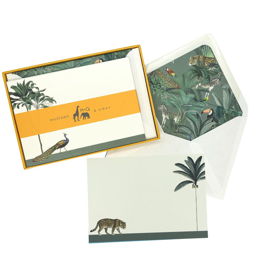 Strutting Peacock and Prowling Leopard Notecard Set - Note Card Set  Mustard and Gray Ltd Shropshire