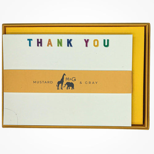 Colourful Typography Thank You Notecard Set - Note Card Set  Mustard and Gray Ltd Shropshire