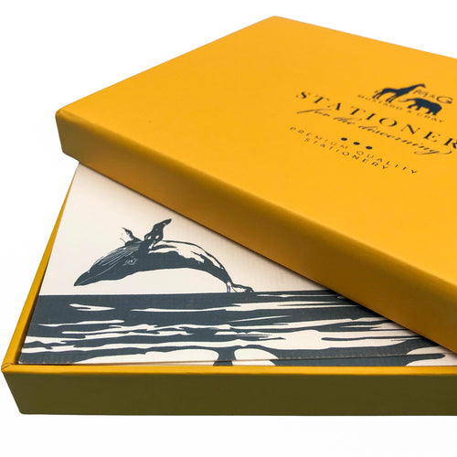 Breaching Humpback Whale Notecard Set - Note Card Set  Mustard and Gray Ltd Shropshire