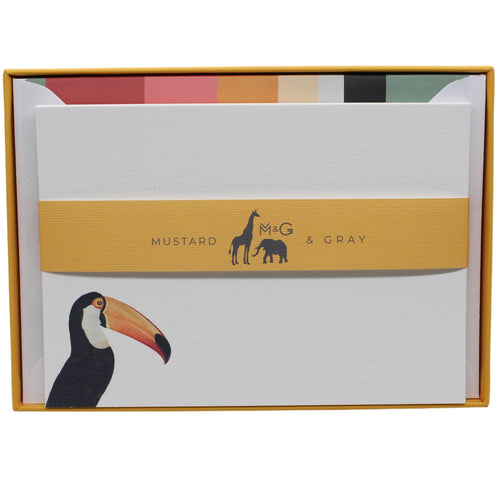 Toco Toucan Notecard Set with Colourful Lined Envelopes - Note Card Set  Mustard and Gray Ltd Shropshire