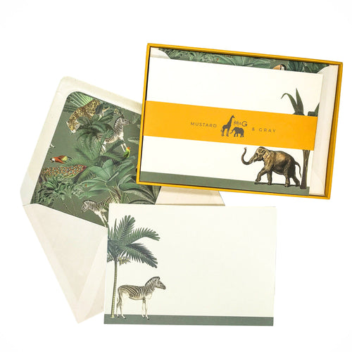 Placid Zebra and Hasty Elephant Notecard Set - Note Card Set  Mustard and Gray Ltd Shropshire
