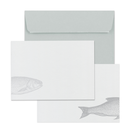 Finest Catch Grey Notecard Set - Note Card Set  Mustard and Gray Ltd Shropshire