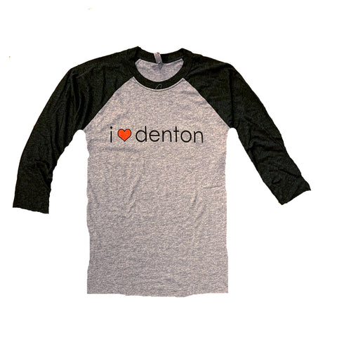 I Heart Denton Baseball Tee