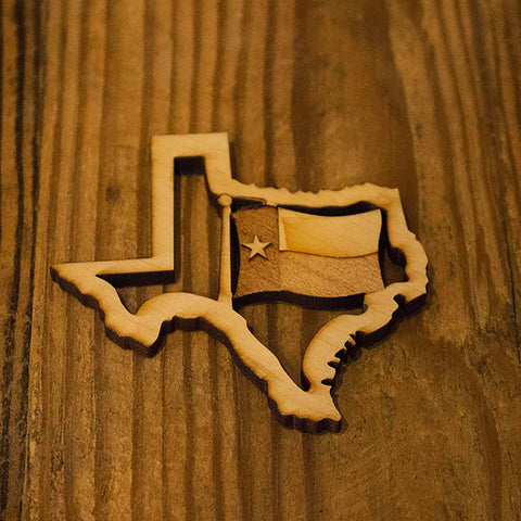 Texas Flag Wooden Magnet
