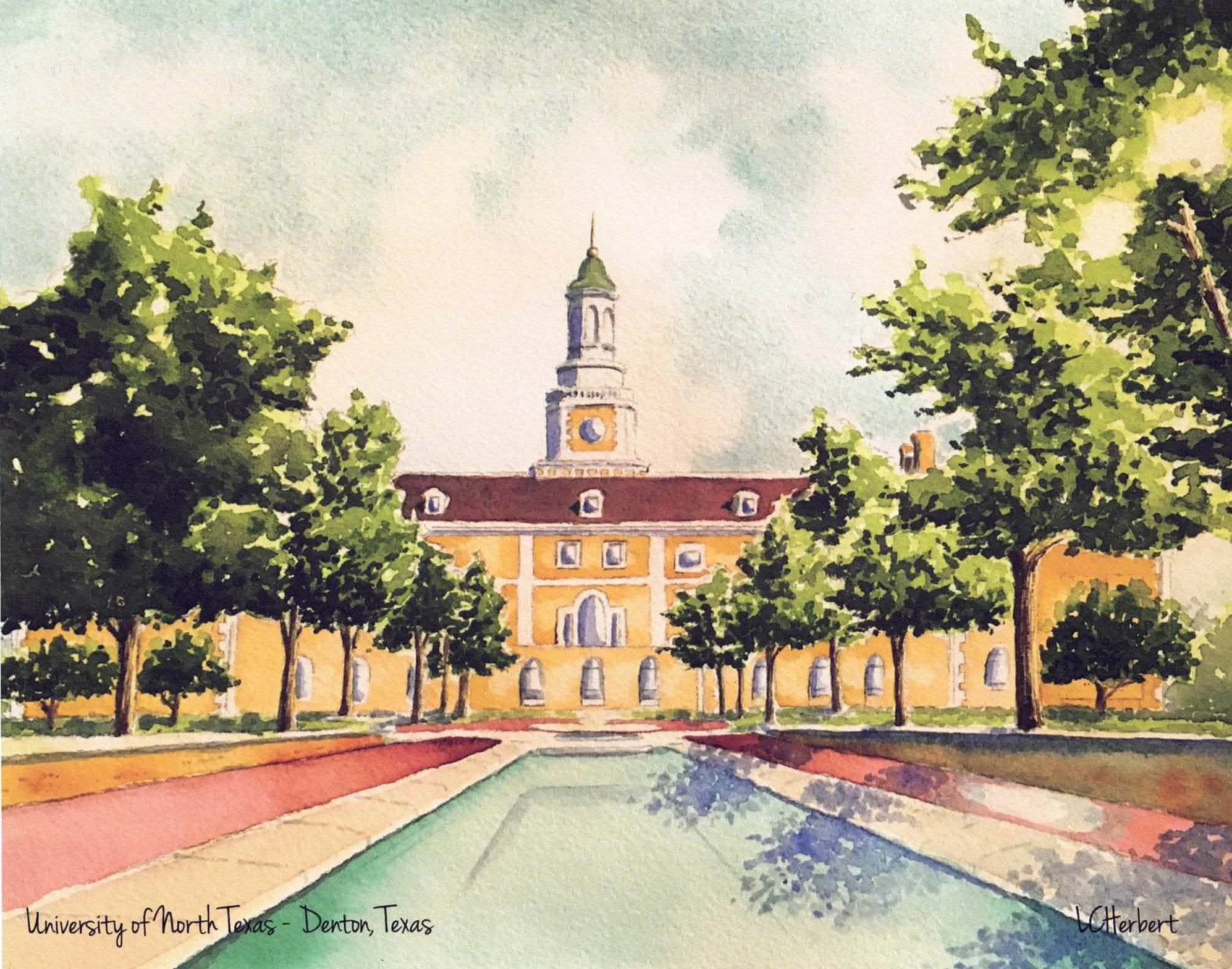 UNT Fountains Print