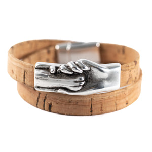 Cat's Paw Vegan-Friendly Flat Double Wrap Cork Bracelet - Hand and Paw Project™ Jewelry