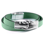 Cat's Paw Flat Leather Double Wrap Bracelet - Hand and Paw Project™ Jewelry