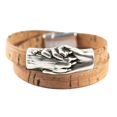 Dog's Paw Vegan-Friendly Flat Double Wrap Cork Bracelet - Hand and Paw Project™ Jewelry