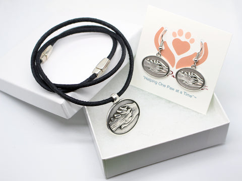Hand and Dog's Paw Earrings and Pendant Gift Set