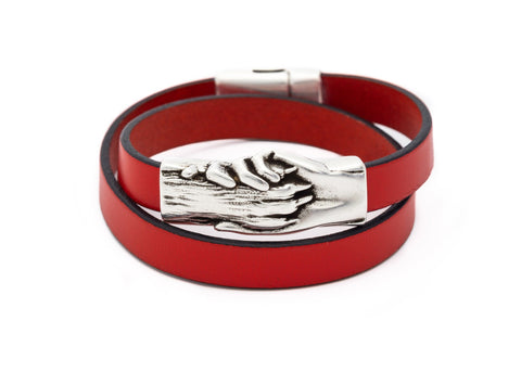 Dog's Paw Flat Leather Double Wrap Bracelet - Hand and Paw Project™ Jewelry