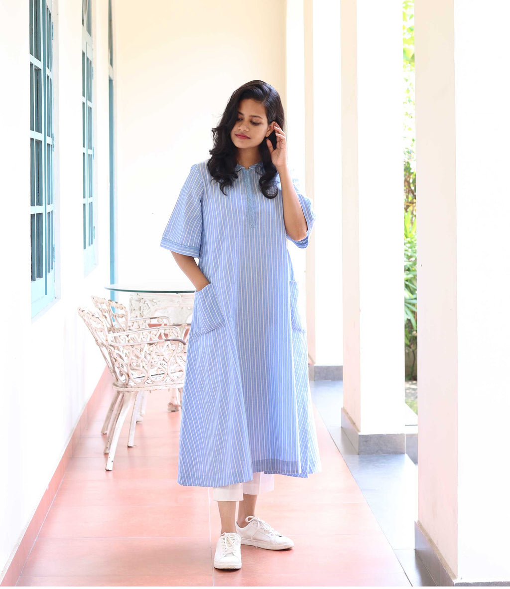 Sky Blue Striped Mantra Women's A Line Dress