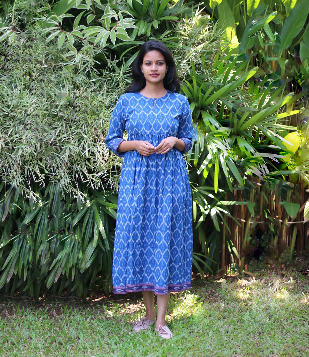 Blue ikat women's dress