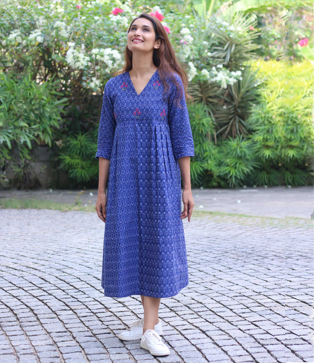 Ink Blue Ikat Handloom Mantra Women's Kurta