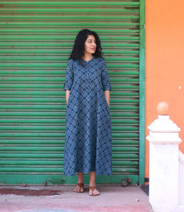 Navy Blue Printed A-Line Tunic