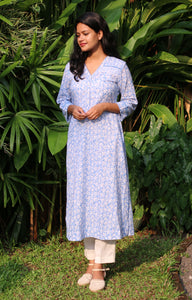 Powder Blue Floral Printed Mantra Women's Kurta