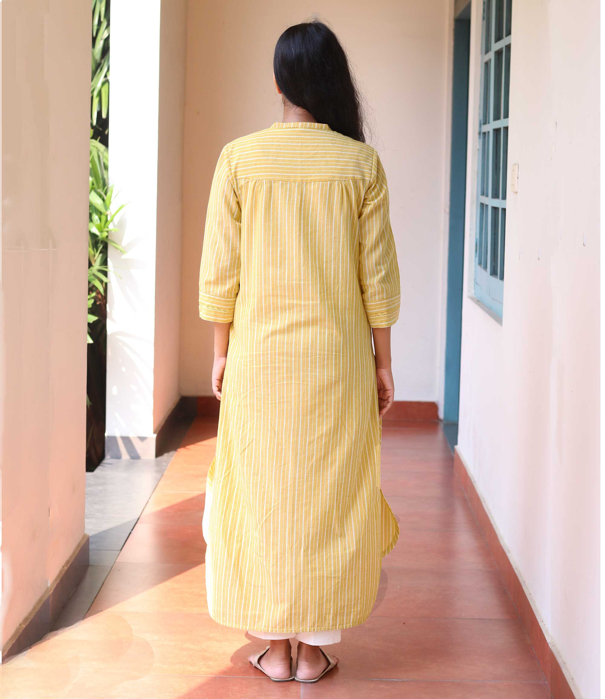 Sunshine Yellow Striped Women's Kurta
