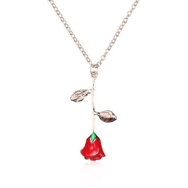 Delicate Rose Flower Pendant Necklace Charm For Women