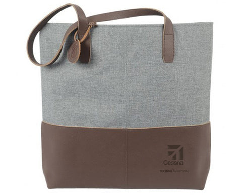 Cessna Leather Heathered Tote Bag