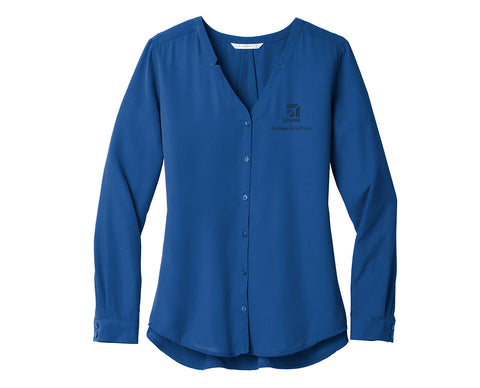 Cessna Ladies Long Sleeve Button Front Blouse