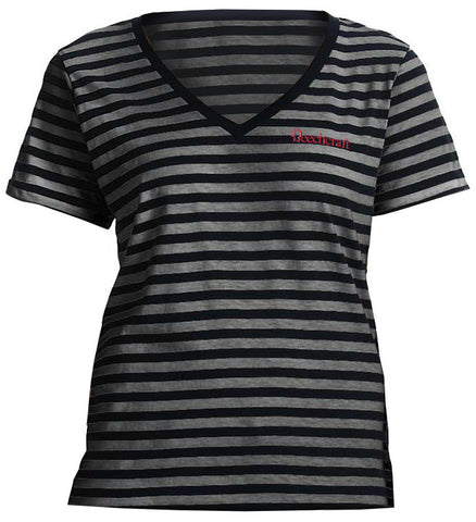 Beechcraft Ladies Striped V-Neck T-Shirt