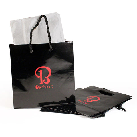Beechcraft Black Gloss Mini Gift Sacks w/Silver Tissue 5/pkg