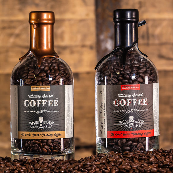 Whiskey Barrel Coffee Bottles