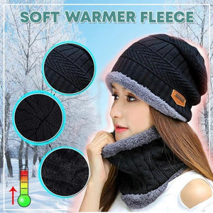 Minky Knit Beanie Hat and Neck Warmer Set