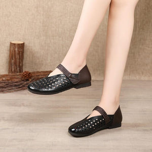 Genuine Leather Summer Woman Flats Hollow Breathable Comfortable Casual Sandals