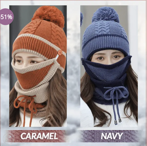 Knitty™: 3 in 1 Knitted Beanie, Mask, Scarf Set