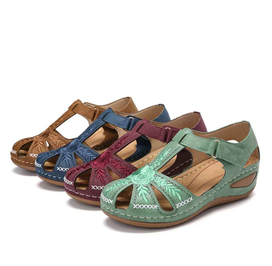 2021 Summer Rome Vintage Hollow out Wedges Sandals