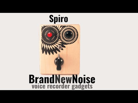 Spiro by Brand New Noise Instruments and Audio Recorders. This simple audio recorder has a record button. play button, knob to control the speed of your audio recording, and switch to put playback on a repeat loop