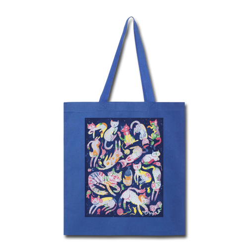 Cats of the Spring Equinox Tote - royal blue