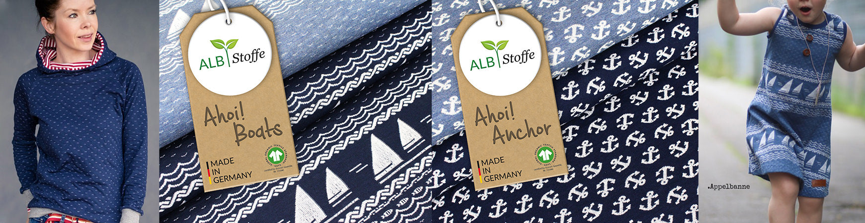 Ahoi! Kollektion Albstoffe Anchor Boats Sail Away
