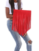 Ruby Red Fringe Clutch